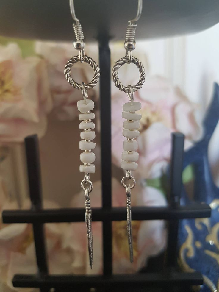 White Beaded Feather Earrings by LykoCrafter on Etsy