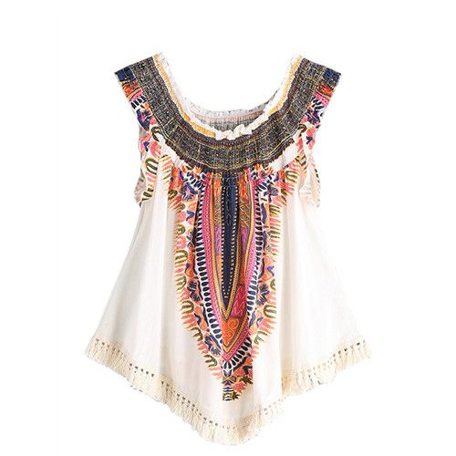 Women Blouses Vintage Sleeveless Summer Tops Beige Print Shirred Clothing New Fashion Tassel Fringe Blouse