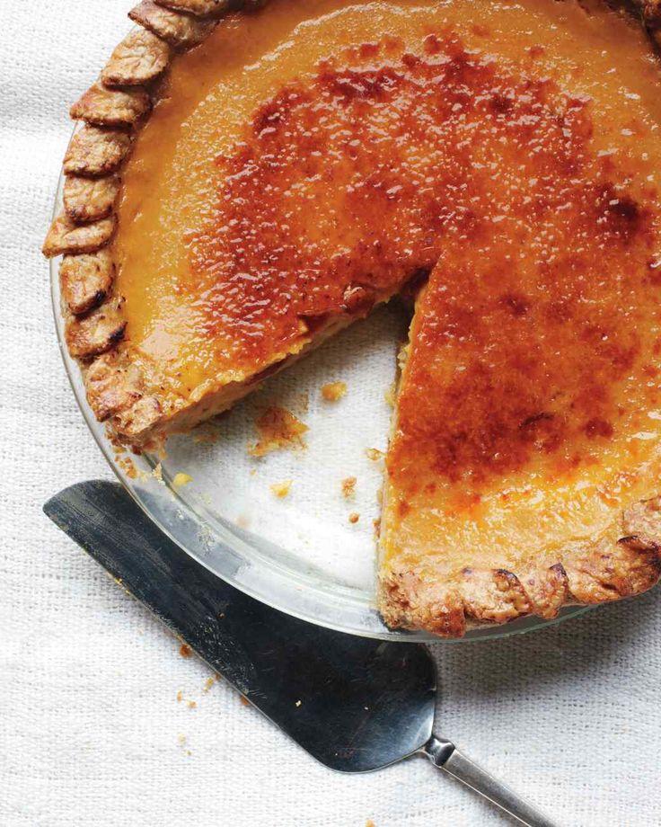 Martha Stewart Bruleed Pumpkin Pie Recipe: milk, cinnamon stick, vanilla bean, peppercorns, cloves, fresh ginger, eggs, pure canned pumpkin, sugar, salt, superfine sugar, pepitas, flour and unsalted butter. †▼▼†