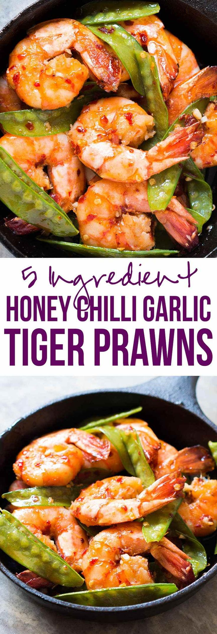 Looking for meals under 15 minutes? This is it - 5 ingredient honey garlic chilli tiger prawns! All the asian flavours you love in this one easy recipe!