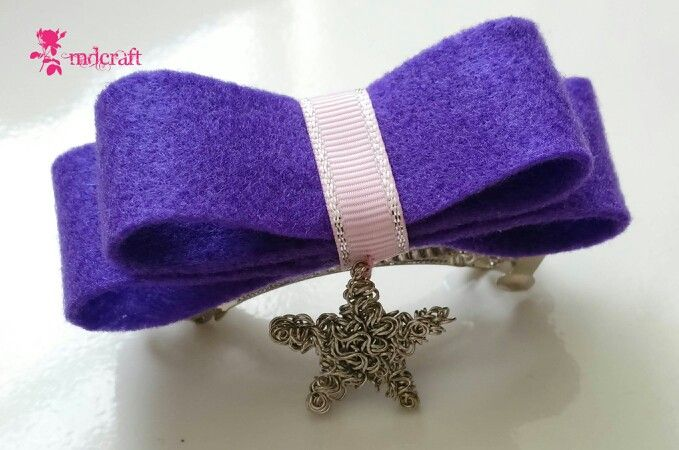Purple bow hairclips,  only IDR 15000