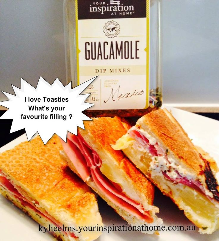 This would have to be one of my favourite fillings for toasties or jaffles !!!! YIAH Guacamole Dip with cream cheese, ham and pineapple So easy, delicious and satisfying Oh I pinched one triangle before I took the photo lol