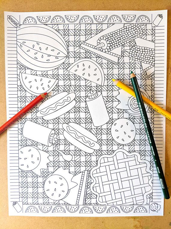 Have Fun Coloring In Your Favorite Summer Picnic Foods All Laid