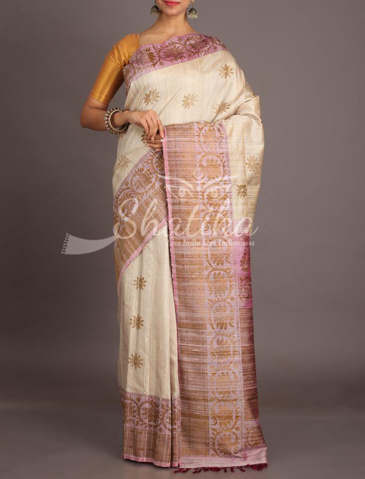 Kasturi Beige With Onion Peel Color Pristine Jute Silk Saree
