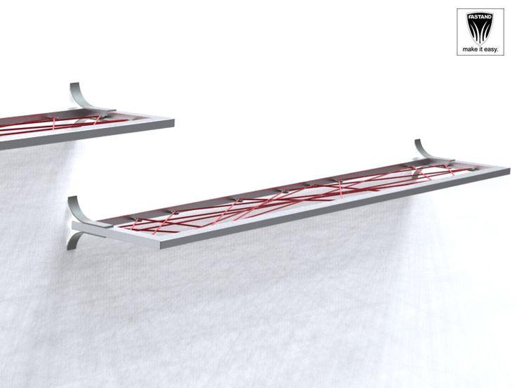 """Mensole singole in alluminio. Sistema a """"filo"""" è una corda semielastica intercambiabile di sostegno. Disponibilità di vari colori."""