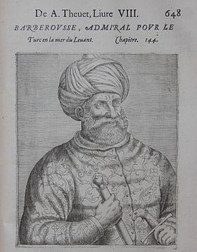 Khizir Khayr ad-Dîn (turc : Barbaros Hızır Hayreddin Paşa, arabe : خير الدين Khayr ad-dīn1,2, bienfait de la religion) dit Barberousse, fut un corsaire de l'Empire ottoman avec son frère, il a occupé les postes de beylerbey (gouverneur-général) de la régence d'Alger et de kapudan pacha (grand amiral).
