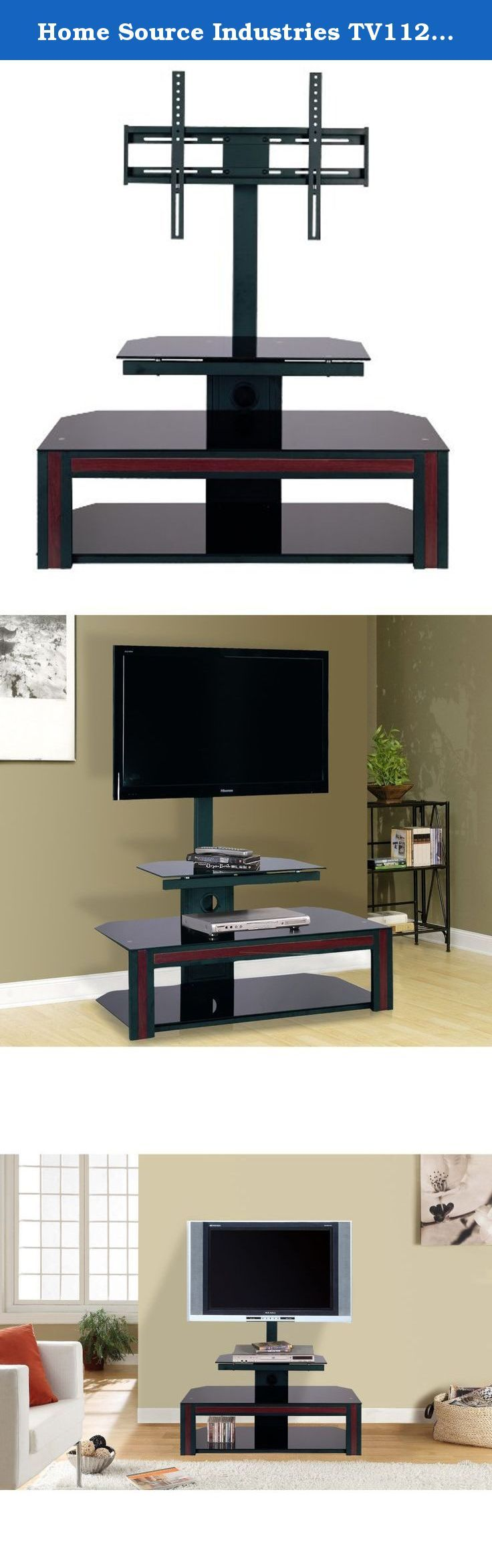 """Home Source Industries TV11207 Modern TV Stand with Mount and Shelving for Components, Black. This TV Stand will display your flat-panel plasma or LCD television in style while integrating into your modern decor. Designed to accommodate televisions up to 55"""", the TV stand features a strong metal mount and wood- highlighted shelves. The shelving units complement a modern home decor, and they also allow for the storage and display of various entertainment accessories."""