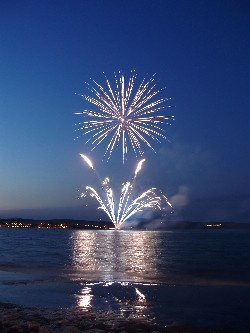 Fireworks, July 3rd, at Wessagusset Beach.  A yearly tradition.  A HUGE holiday with my family.