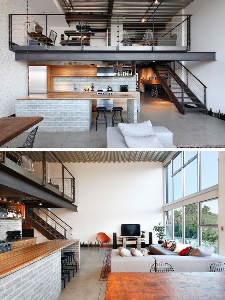 Industrial-looking double volume apartment! Love it!