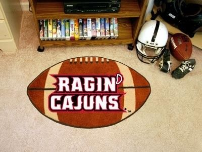 Louisiana Lafayette ULL Ragin Cajuns Football Shaped Area Rug Welcome/Bath Mat