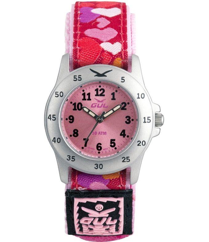 GUL klokke med borrelås rosa/hjerter