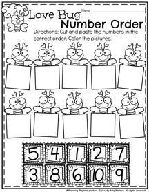 Love Bug Number Order Preschool Worksheets for February