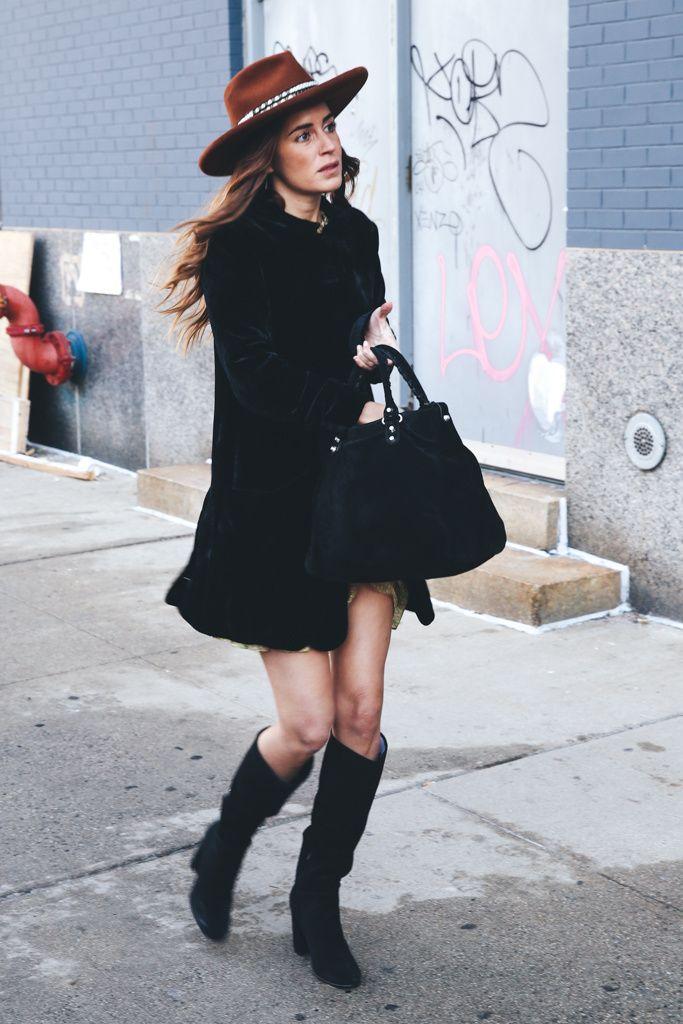 Gala Gonzalez wearing Pedro Garcia Beryl black suede boots at Glamour España.