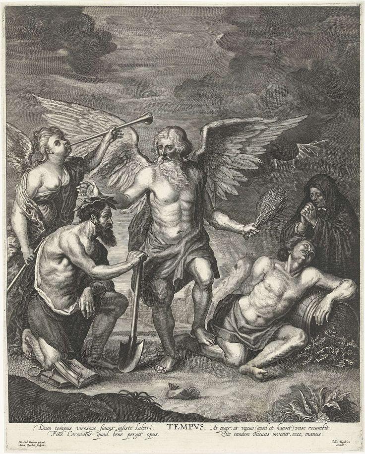Joseph Antoine Cochet   Allegorie op de Tijd, Joseph Antoine Cochet, Gillis Hendricx, c. 1645 - c. 1678   Vader Tijd lauwert de hardwerkende man en pijnigt de luiaard met een roede. De hardwerkende man leunt op een schoffel en naast hem ligt een stapel boeken. De luiaard leunt op een wijnvat. Achter de werkende man blaast een engel op een loftrompet. Achter de luiaard bidt een oudere vrouw voor diens zielenheil.