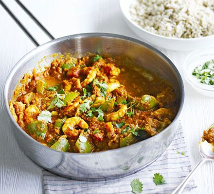 Prawn jalfrezi. Satisfy a curry craving the healthy way with this Indian prawn dish - blitz the onions and spices into an authentic, thick, yet low-fat sauce
