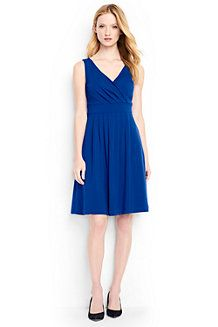 Women's  Plain Sleeveless Crossover Dress  Lands End use high quality fabrics and have a relaxed feel which is why I chose this dress as an option for a more casual day dress, which can be worn with a jacket, open blouse or pashmina style if you don't want a sleeveless look
