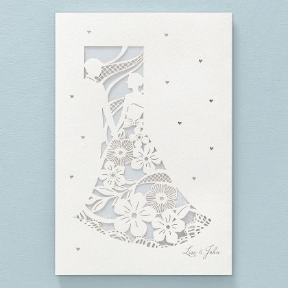 Floral Wedding Dress Lasercut By B Wedding Invitations