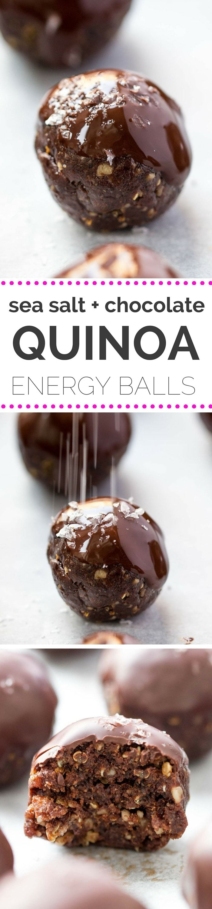 The BEST DAMN energy balls ever! They're double dark chocolate and sea salt with crispy quinoa -- taste like brownies, but are packed with healthy ingredients! [vegan]