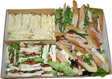 Sandwich & Baguette Platter - only $80! Handmade the morning of pick-up to ensure you get the best quality. They are conveniently packaged in bio-degradeable boxes that you can simply throw away when you're done. Feeds 10-12 people, making the great value. | The Happy Apple