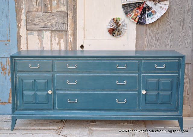 The Salvage Collection: reveal: ollie: Furniture Inspiration, Salvage Collection, Chalk Paint Dresser, Furniture Makeover, Painted Furniture, Blue Chalk Paint, Collection Blue, Paint Colors, Annie Sloan Chalk Paint
