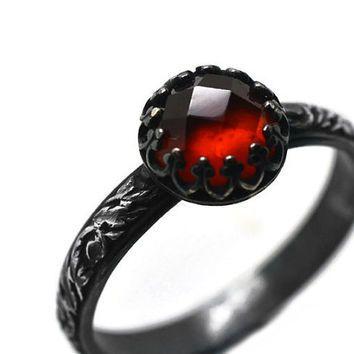 Гессонит Гранат Ренессанс Кольцо, окисленные Серебряное кольцо, природных драгоценных камней ювелирные изделия, черный серебро готического кольцо