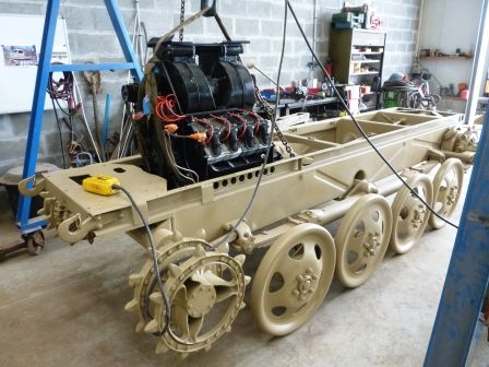 A rebuilt engine and transmission installed awaiting the cab assembly on a Steyr R.S.O during restoration on a Russian Museum