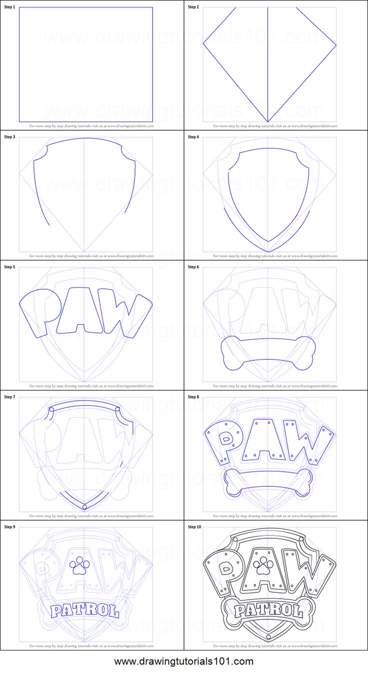 How to Draw Paw Patrol Badge printable step by step drawing sheet : DrawingTutorials101.com
