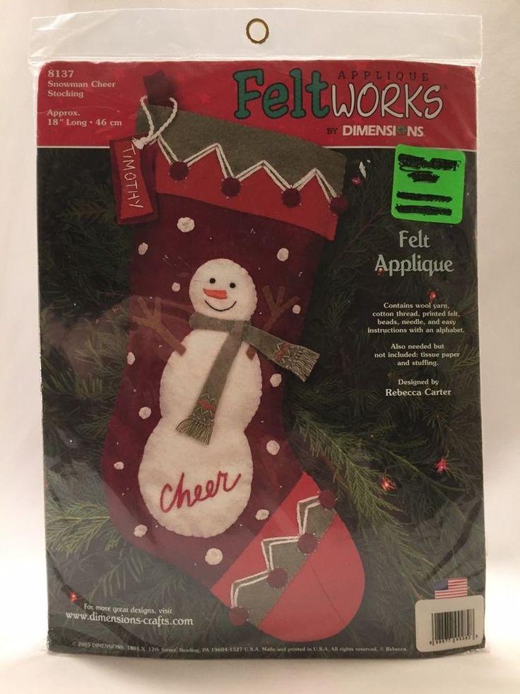Xmas Stocking Kit #8137 Dimensions Felt Applique Snowman Cheer Rebecca Carter  #Dimensions
