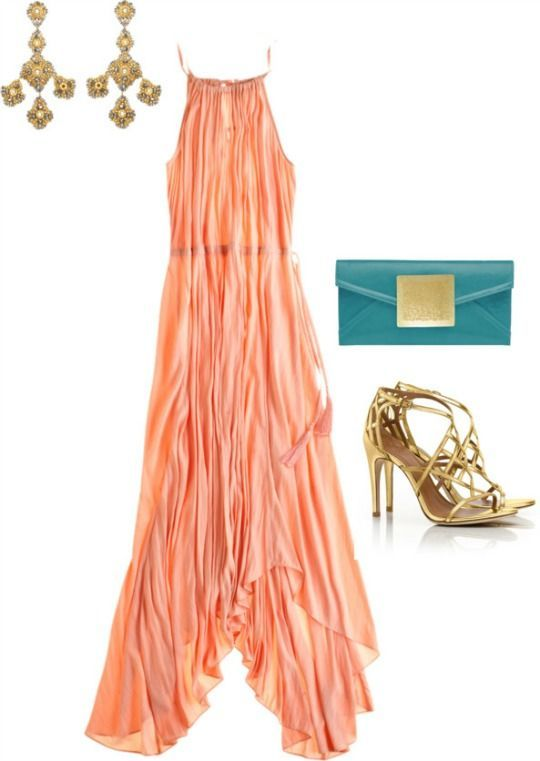 What to wear to a beach wedding - maxi, metallic sandals and statement earrings