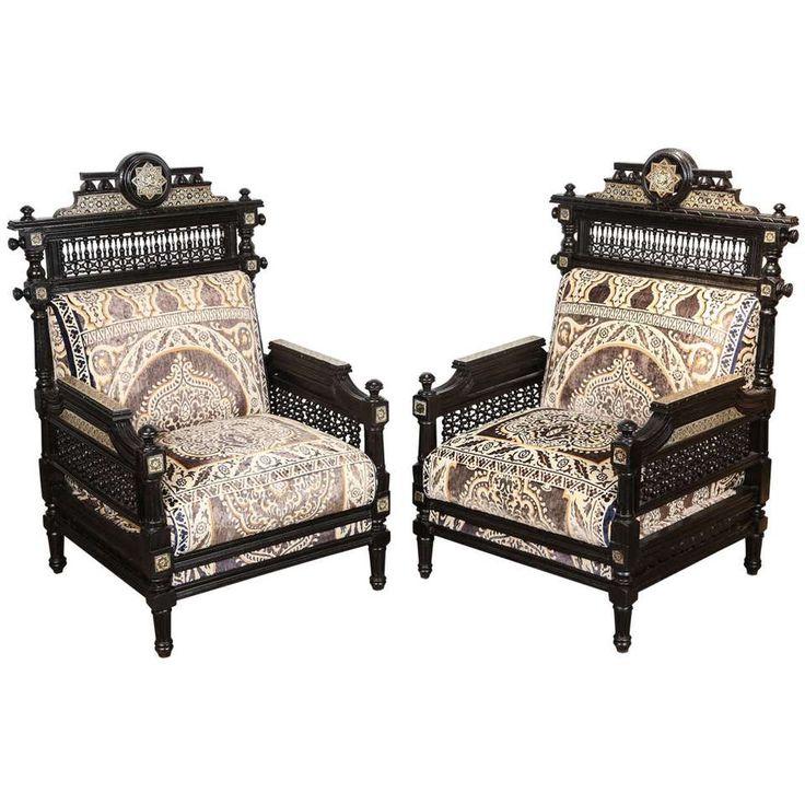 Antique Syrian Moorish Style Black Armchairs 1