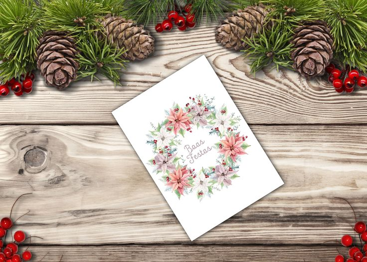Postal de natal com inspiração nas flores de natal para coroar as quadras festivas. Para encomendar enviem mail para madebycatia@gmail.com
