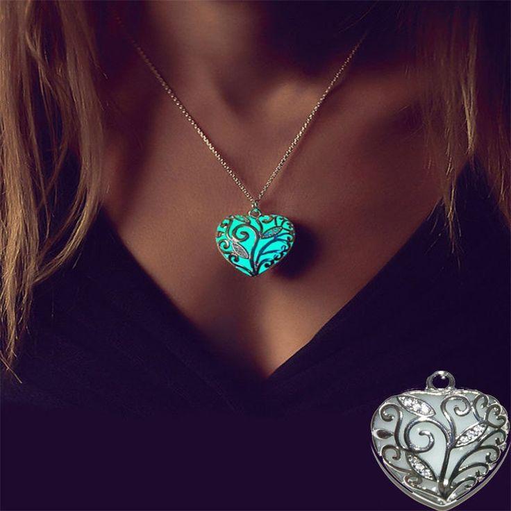 Magical Heart Pendant, Glow in the Dark, Gift, Necklace, Aqua, Blue, Glowing, fashion Jewelry Glow, Hot sale, Collar, choker, best seller by HeadbandShabbychic on Etsy