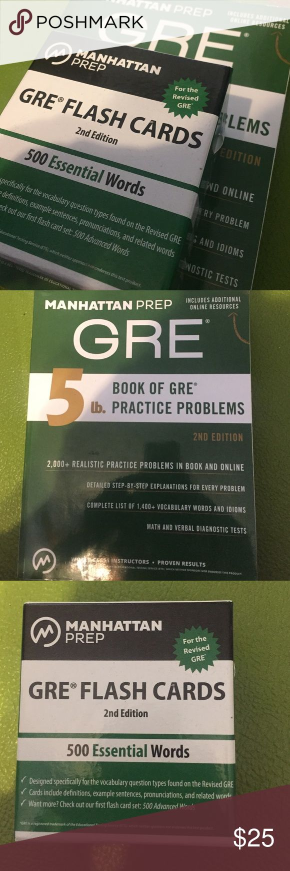 Manhattan GRE book accompanied with flash cards This is the top of the line GRE equipment to get you into Grad school. The 500 essential word flash cards come with a ring to clip each card onto and is also alphabetized. The GRE book is 5lbs and comes with a plethora of practice problems. Other