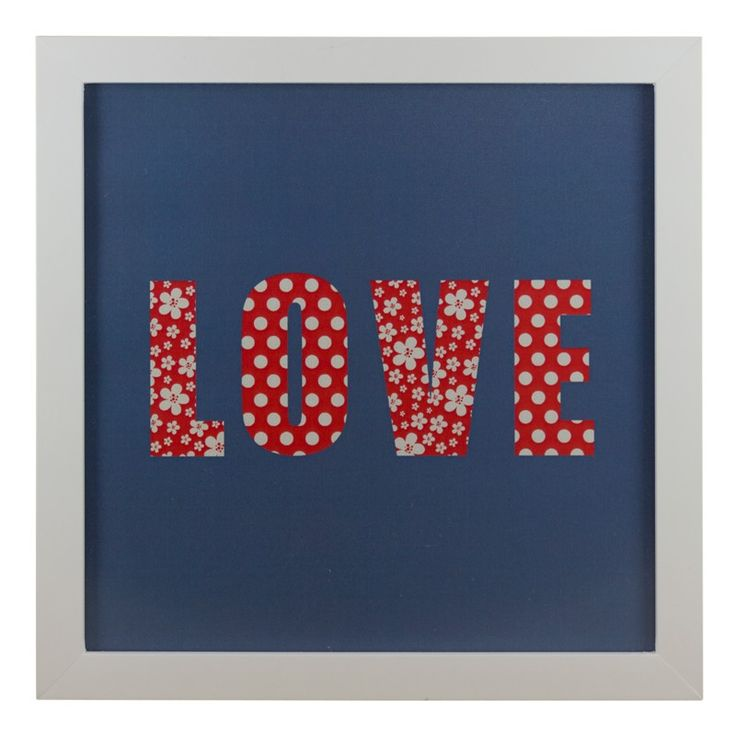Quadro Love Patchwork Jeans 20x20 - Col. Exclusiva