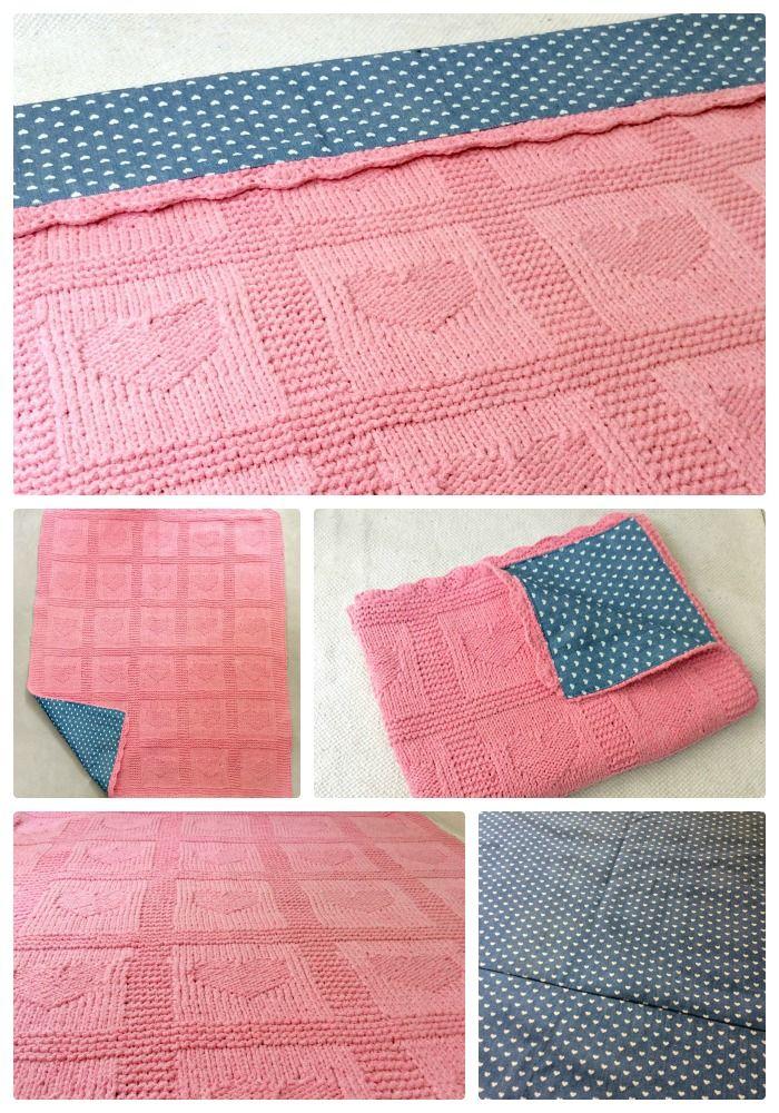 Knit Baby girl blanket handmade heart with fabric jeans denim with small white heart. Ferri maglia Coperta Bimba, bambini fatta a mano con cuori e foderata con jeans.