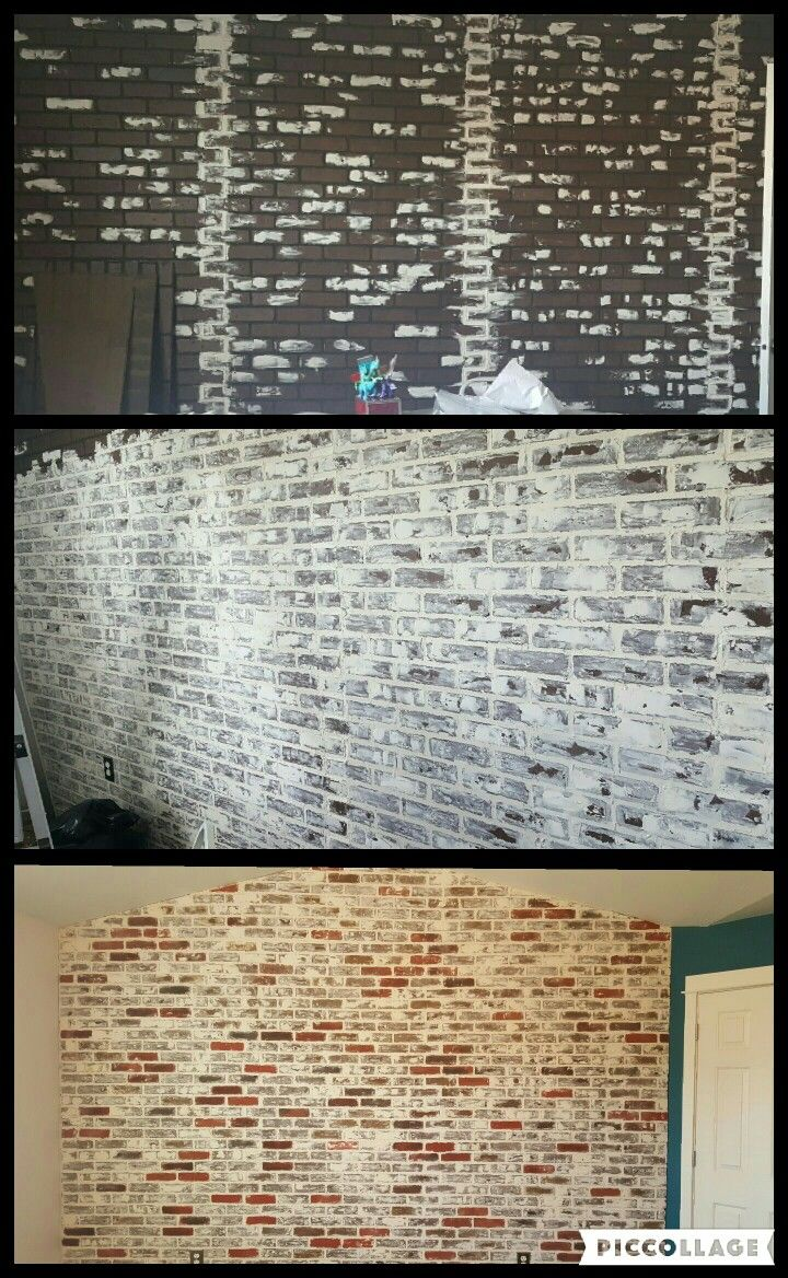 DIY Faux brick wall. Panels from Lowe's, dry wall spackle and some chalk paint.
