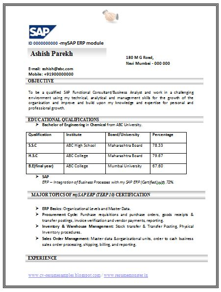sap bw sample resume resume samples for sap consultant
