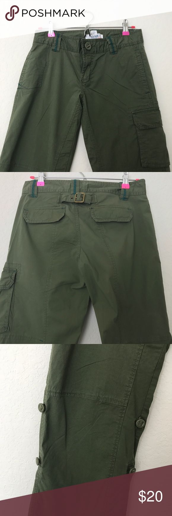 Old Navy Cargo Pants Old Navy ladies cargo pants, color olive, size 4. These pants can be folded up and buttons into Capri pants, at two different lengths. Old Navy Pants