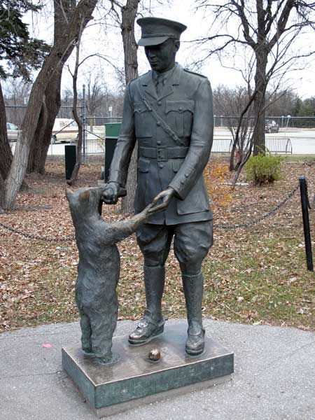 Winnipeg Manitoba. This is a statue commemorating 'Winnie-the-Pooh'...actually the original brown bear, from Winnipeg who inspired A.A.Milne to create the famous character.
