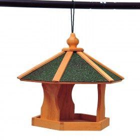 Casa Comedero Pajaros 40x40x35 cm Aves Estacion Alimentacion Pino con Cable