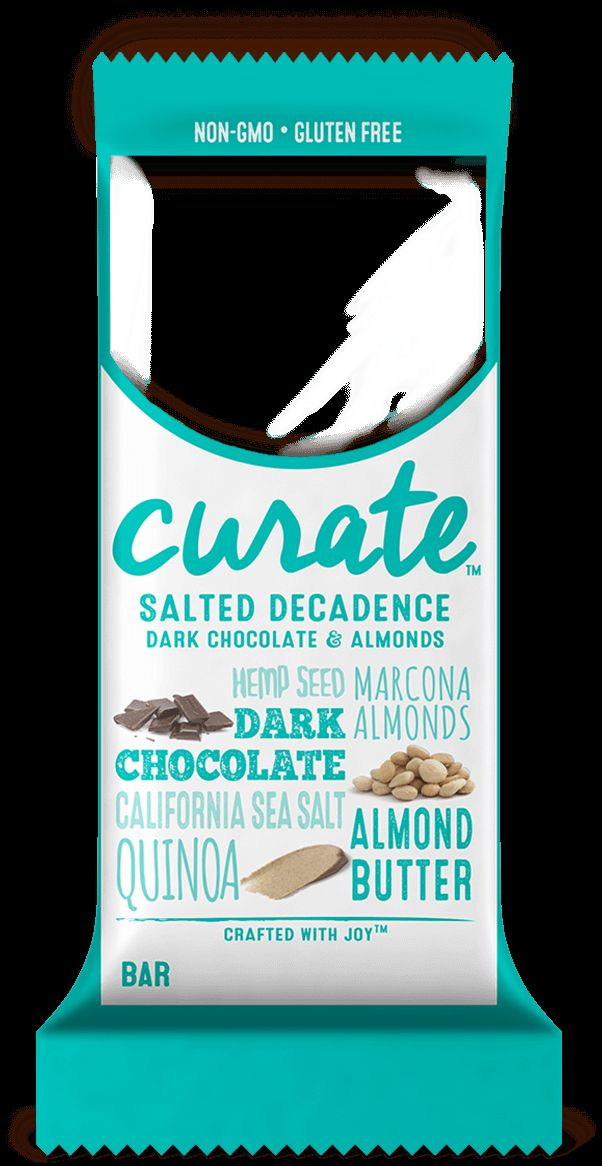 Curate Salted Decadence nutrition bars are made with whole ingredients like dark chocolate, almonds, and quinoa. This bar is non-GMO and gluten-free.