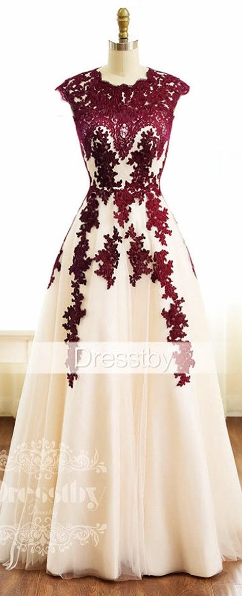 burgundy lace tulle long prom dress, burgundy bridesmaid dress