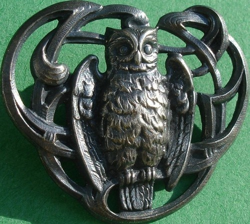 "ButtonArtMuseum.com - VERY SCARCE!! ""OWL""~OPENWORK PEWTER METAL~LARGE ANTIQUE PICTURE BUTTON"