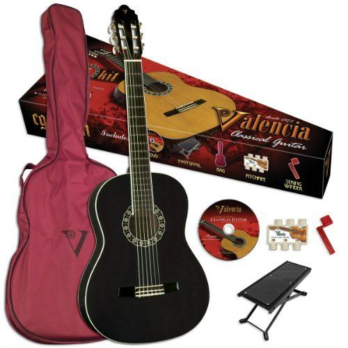 Valencia VG-CG1BK Classical Guitar,  High Gloss Black Finish by Valencia. $119.95. Introducing the VG-CG1KB full size Student Classical Guitar Outfit in Black, Has the tastes, age and playing level of anyone interested in playing the guitar. The beginning players will get everything they need to get started in a conveniently packaged classic guitar kit. Outfit includes: instructional DVD, foot stool, pitch pipe, string winder and durable gig bag