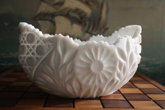 Kemple glass | John E. Kemple Milk Glass Bowl by NostalgiaNest on Etsy