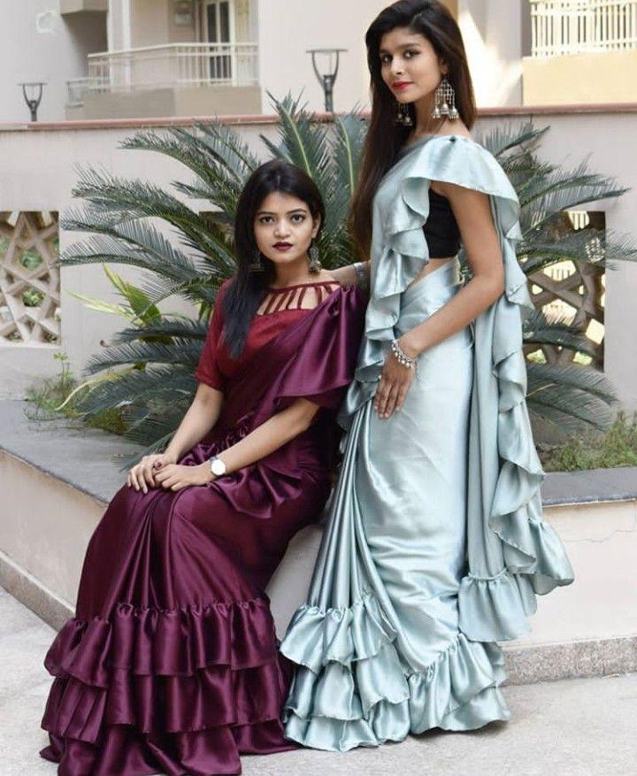 Beautiful Saree With Frills New Fashion Saree Trendy Sarees Saree Dress