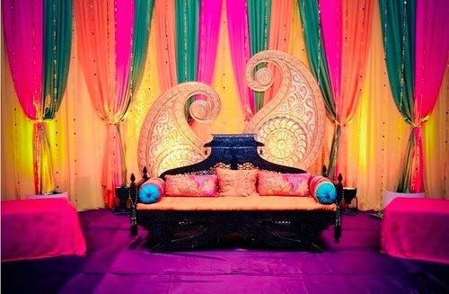 Bright colourful decor perfect for a sangeet or mehendi night