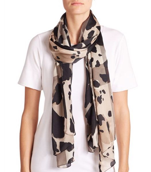 Burberry Animal-Print Silk Scarf Beige-Black              $75.00