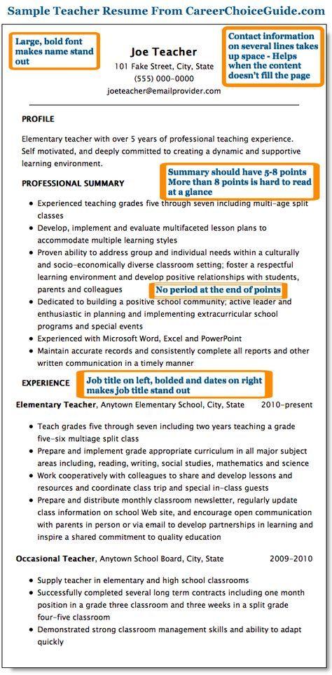 resume for preschool teacher
