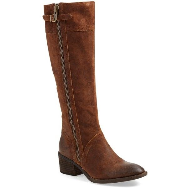 Women's B?rn Poly Riding Boot ($180) ❤ liked on Polyvore featuring shoes, boots, tobacco distressed leather, vintage boots, distressed leather boots, distressed riding boots, born knee high boots and riding boots